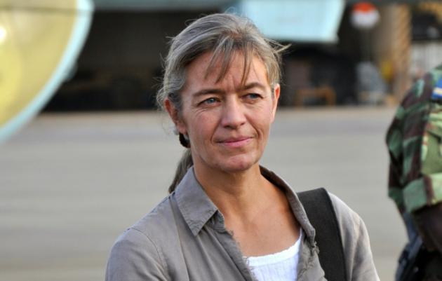 Raia wa Uswisi  kitaifa Beatrice Stockly, Aprili 24, 2012 katika mji wa Ouagadougou, Burkina Faso.