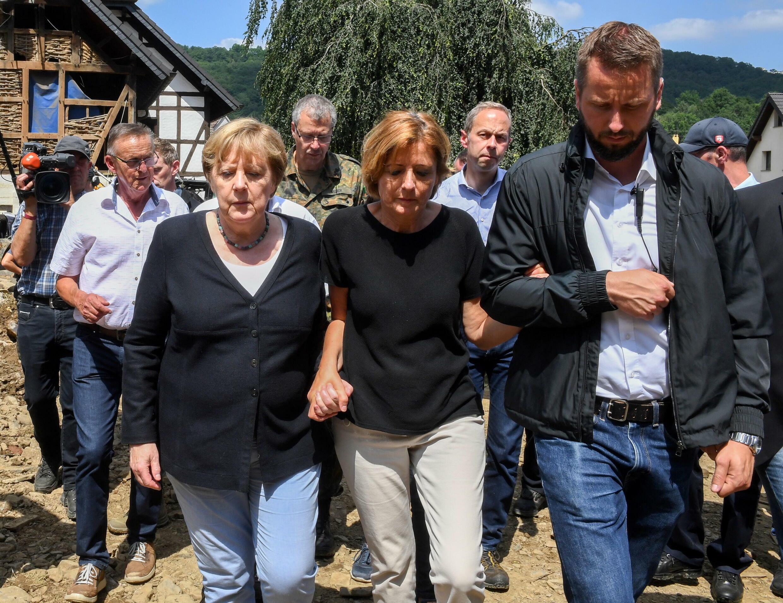 Canciler alemana Angela Merkel y la Ministra Presidenta de Renania-Palatinado, Malu Dreyer.