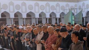 «Asr», prière de fin d'après-midi, à la mosquée al-Azhar au Caire, le samedi 25 novembre 2017.