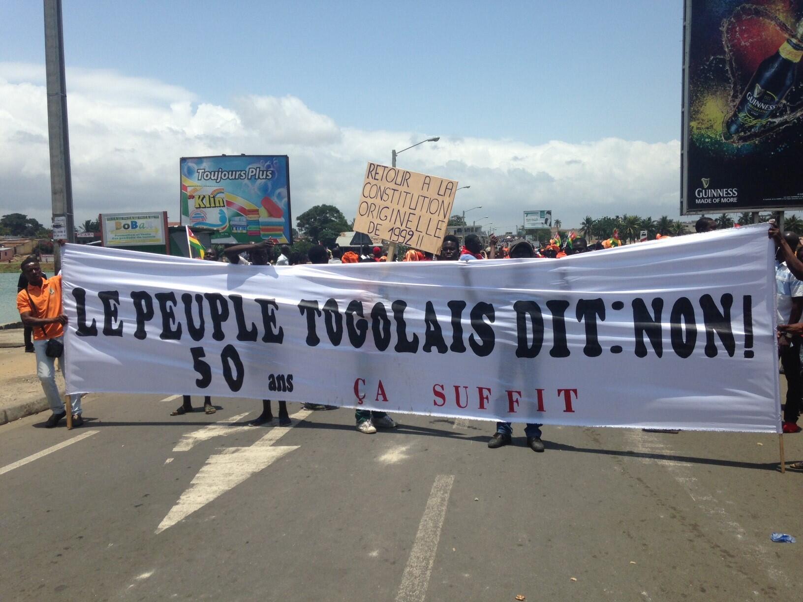 Des manifestants à Lomé, au Togo, lors de la mobilisation contre la réforme de la Constitution, le 20 septembre 2017.