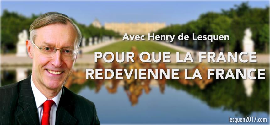 Официальный портрет кандидата де Лескена на фоне Версальского парка: «Чтобы Франция вновь стала Францией»