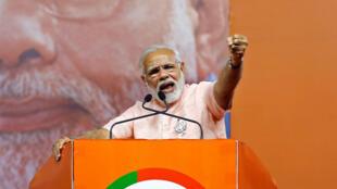 Le Premier ministre Narendra Modi lors d'un meeting à Bangalore, capitale de l'Etat de Karnataka, dans le sud de l'Inde, le 8 mai 2018.