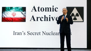 Israeli Prime Minister Benjamin Netanyahu details findings of Iran's past nuclear plans during a news conference at the Ministry of Defence in Tel Aviv, 30 April 2018.