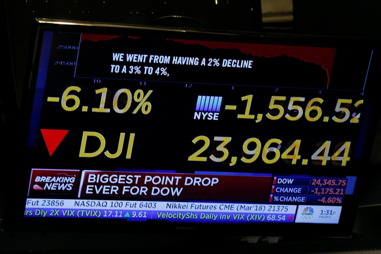 Chỉ số Dow Jones trên thị trường chứng khoán New York, ngày 05/02/2018.