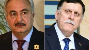 Marechal rebelde Khalifa Haftar (à esquerda) e Fayez al-Sarraj, chefe do governo reconhecido pela ONU (à direita).