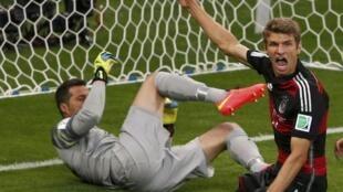 L'Allemand Thomas Müller buteur face au Brésil, en demi-finale de la Coupe du monde 2014 de football.