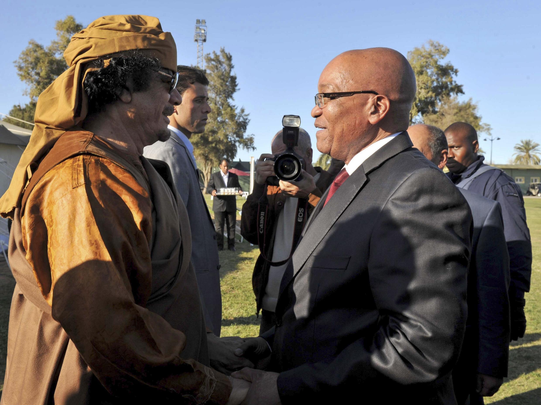 Moamer Kadhafi and South African President Jacob Zuma, Tripoli, 10 April 2011