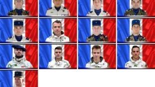 Montagem com as fotos dos 13 militares mortos em operação no Mali. A maioria tinha menos de 35 anos.