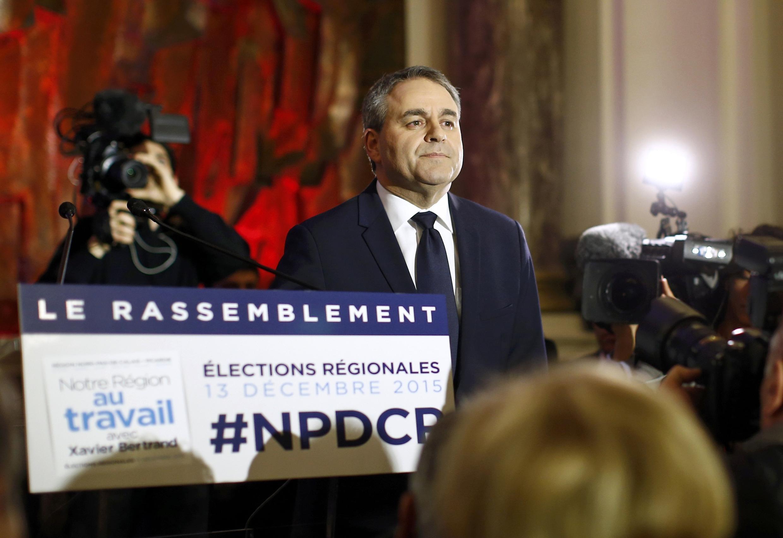 Ông Xavier Bertrand, ứng cử viên đảng LR (Les Républicains), chiến thắng trong cuộc bỏ phiếu vùng  Nord-Pas-de-Calais-Picardie, ngày 13/12/2015.
