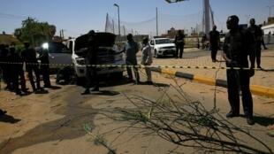 Lieu de l'attaque qui a visé le Premier ministre soudanais, à Khartoum, le 9 mars 2020.