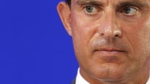 Manuel Valls, ministre français de l'Intérieur, lors d'une conférence de presse le 14 août.