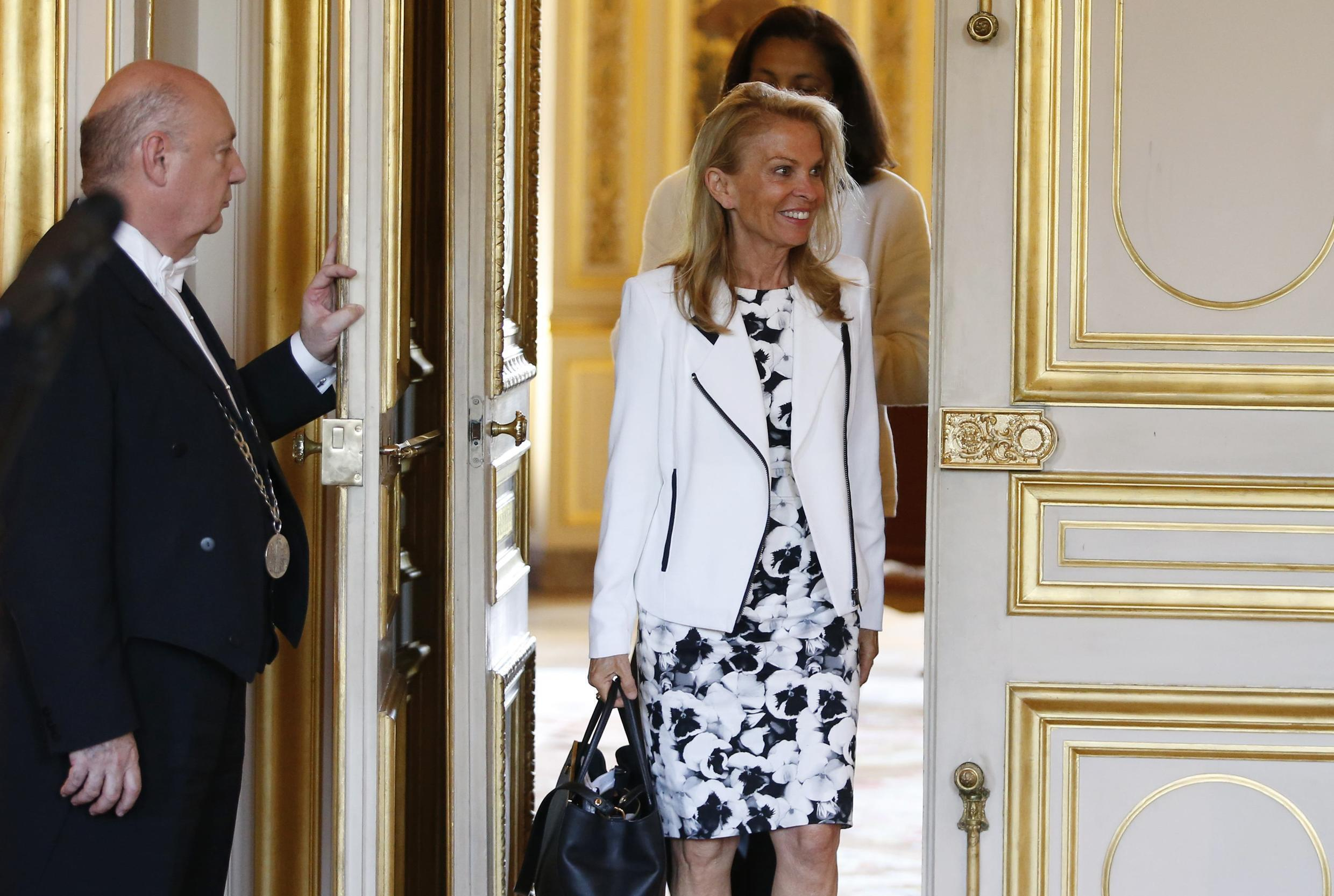 US ambassador to France Jane Hartley leaves a meeting with French Foreign Affairs Minister Laurent Fabius following the WikiLeaks revelations of US spying