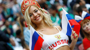 Moscow, Russia - June 14, 2018 Russia fan before the match