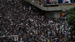 Участники акции протеста в Гонконге, 3 августа 2019 г.