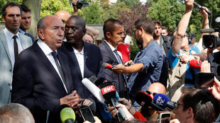 French Interior Minister Gerard Collomb at the scene of the attack