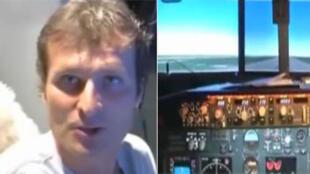 Laurent Aignon, dans une réplique exacte d'un cockpit de Boeing 737 gandeur nature.