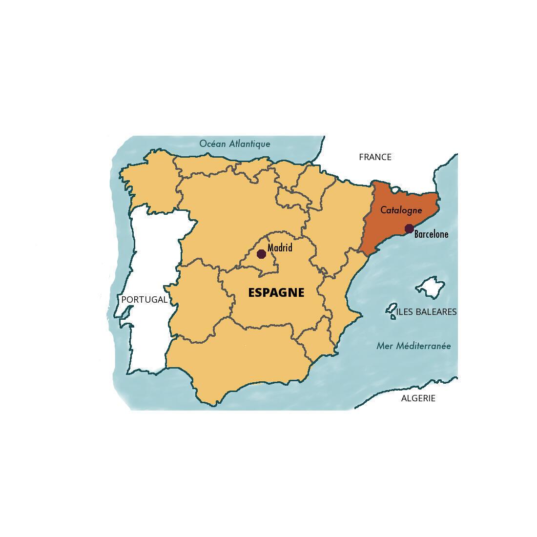 موقعیت جغرافیایی کمونته کاتالونیا بروی نقشه اسپانیا