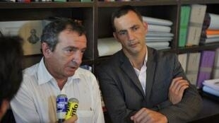 Simeoni and Maisoneuve, lawyers of Yvan Colonna, a Corsican shepherd sentenced to life in jail for murdering a senior French government official