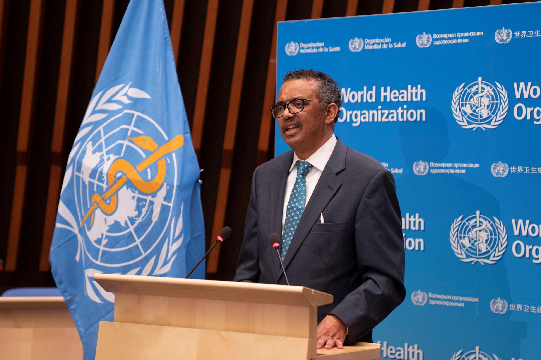 Le directeur général de l'OMS, lors de la 73e assemblée générale de l'organisation, le 28 mai 2020 à Genève.