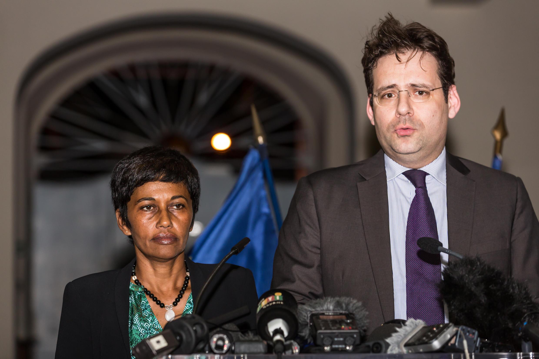 Ericka Bareigts, ministre des Outre-mers et Matthias Fekl, ministre de l'Intérieur, le 29 mars 2017 à Cayenne.