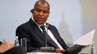 Le président centrafricain Faustin Archange Touadéra au forum économique international de Saint-Pétersbourg, le 24 mai 2018.