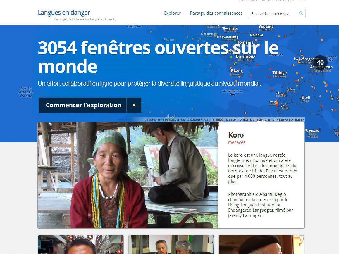 Capture d'écran du site internet du projet: www.endangeredlanguages.com