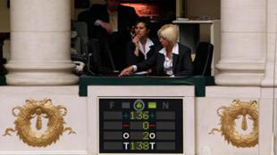 Résultats du vote des parlementaires belges réunis en session plenière à Bruxelles , le 29 avril 2010.