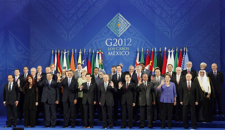 Los dirigentes mundiales presentes en la cumbre del G20 en México, 18 de junio de 2012