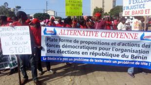 Manifestation de l'opposition à Cotonou, le 29 octobre dernier, pour réclamer l'organisation d'élections au Bénin.