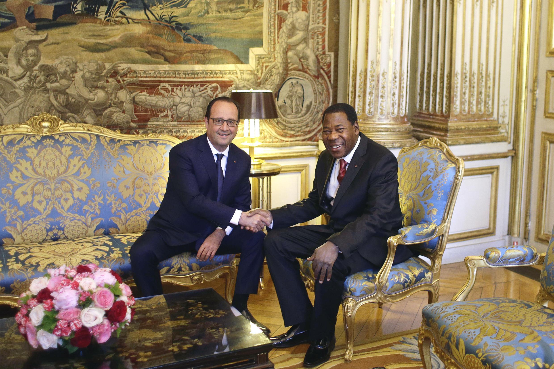 Shugaban kasar Bénin, Thomas Boni Yayi a wata ganawa da Shugaban Faransa François Hollande