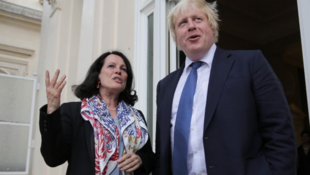 The then French ambassador to the UK, Sylvie Bermann, with Boris Johnson in 2016
