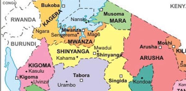Sehemu ya ramani ya Tanzania ambayo sasa iko katika mchakato wa katiba mpya