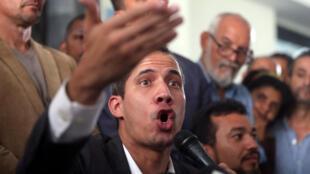Juan Guaidó em uma coletiva de imprensa em Caracas, em 5 de março de 2019
