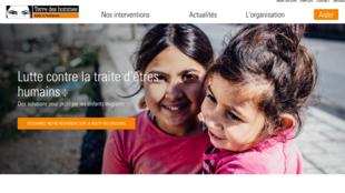 Capture d'écran du site de la fondation suisse «Terre des hommes».