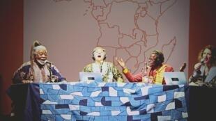 Binda Ngazolo, Vladimir Cagnolari, Soro Solo et Hortense Volle sur scène, le 14 décembre 2019, au Musée national de l'histoire de l'immigration, à Paris.