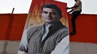 Affiche de campagne de Rahul Gandhi, le candidat du parti Le Congrès, le plus vieux parti du pays.