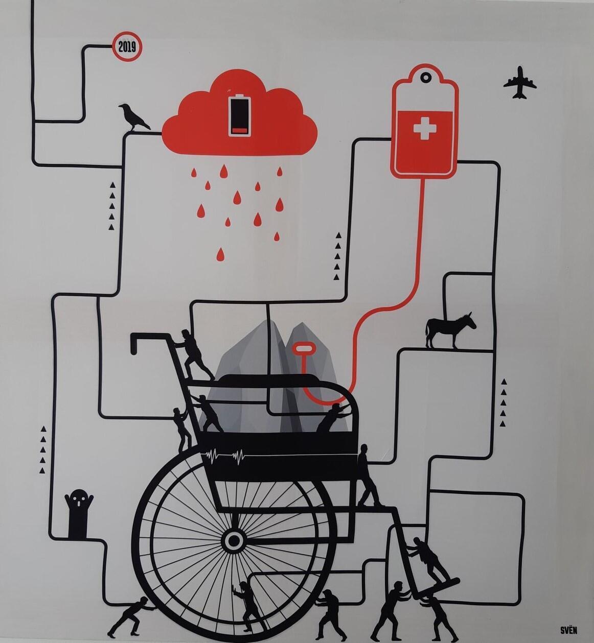 Un fauteuil roulant, une perfusion (détail)... Sven, du collectif Brokk'art, exposé à la galerie Miettes de Baleine à Douarnenez.
