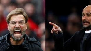 Duel fratricide entre deux équipes étincelantes ce soir en quart de finale de la Ligue des Champions : Liverpool - Manchester City. Les entraineurs Juergen Klopp (g) et Pep Guardiola (d).