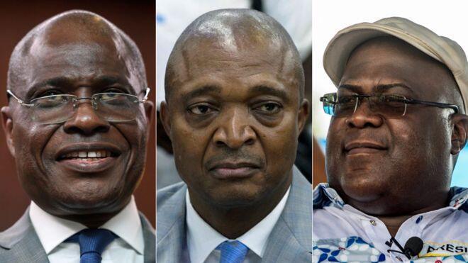 Wagombea wakuu wa urais nchini DRC, Martin Fayulu (Kushoto), Emmanuel Ramazani Shadary (Katikati) na Felix Tshisekedi (Kulia)