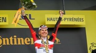 Le Slovène Tadej Pogacar vainqueur de la 18e étape du Tour de France, entre Pau et Luz Ardiden, le 15 juillet 2021