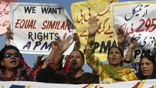 Protesters in Faisalabad demanding the release of Asia Bibi, a Pakistani Christian woman sentenced to death for blasphemy.