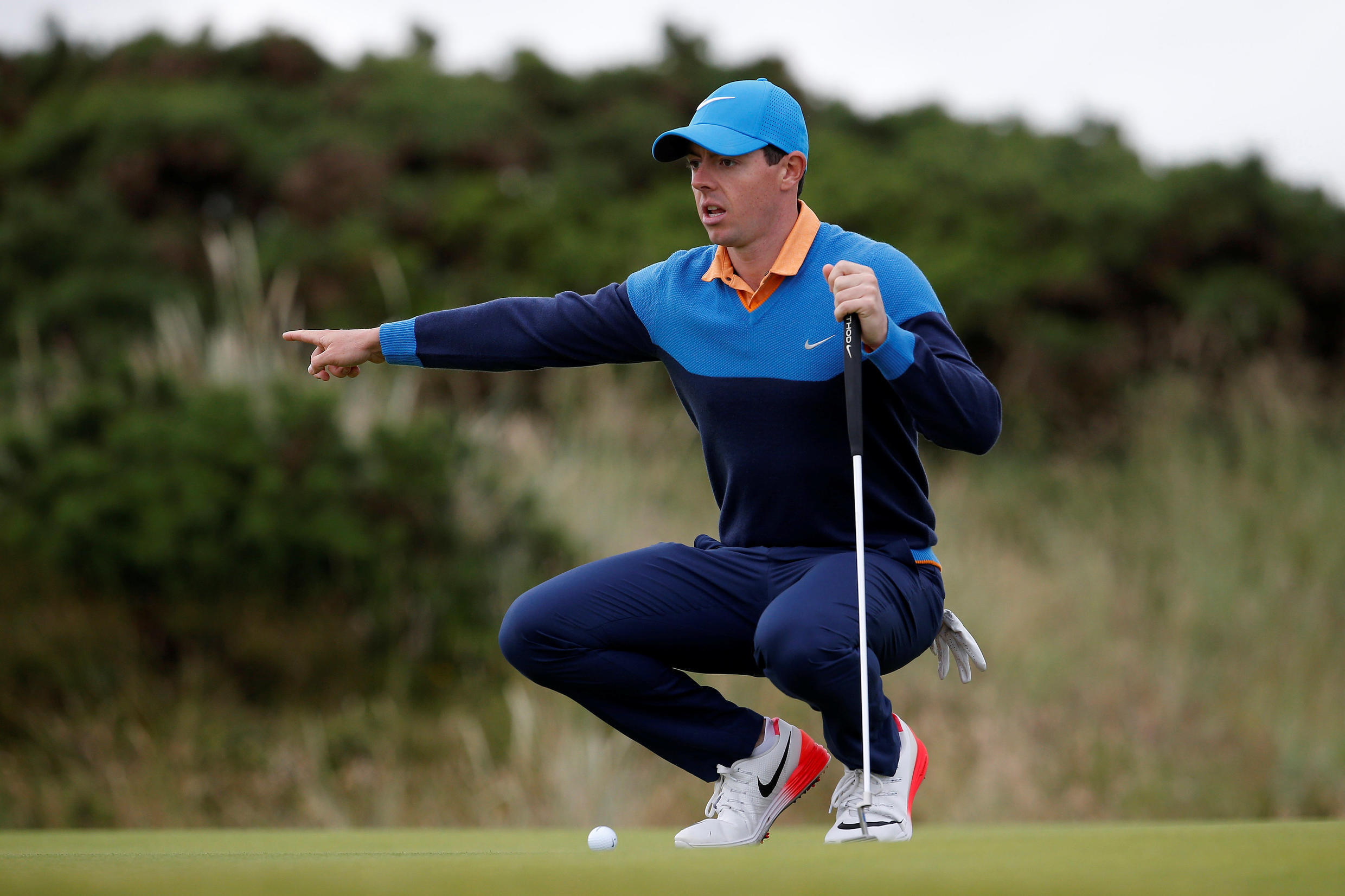Rory McIlroy of Northern Ireland lines up a putt on the 12th hole at the British Open on 12 of July 2016
