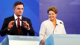 Dilma Rousseff (PT) e Aécio Neves (PSDB) começam a disputa pelo segundo turno com um primeiro debate dia 14 de outubro de 2014.