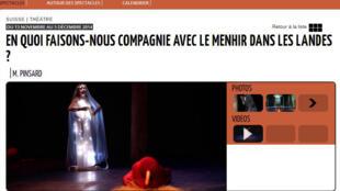 «En quoi faisons-nous compagnie avec le menhir dans les Landes?» de Marielle Pinsard, au théâtre Le Tarmac jusqu'au 5 décembre 2014.