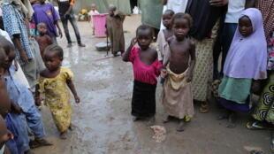 Des enfants du camp de déplacés de Maiduguri, dans le nord-est du Nigeria.