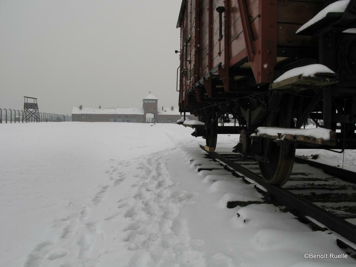 A railtruck at Auschwitz concentration camp