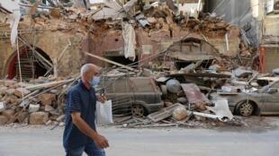 Cảnh nhà đổ nát ở Beyrouth, Liban, sau vụ nổ kép ngày 04/08/2020. Ảnh chụp ngày 05/08/2020.