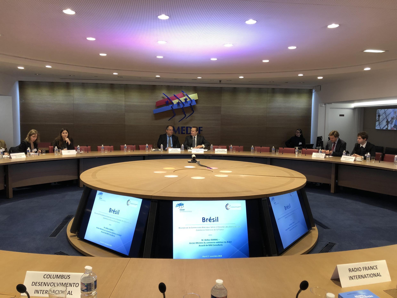 Encontro do Medef (Movimento dos Empresários Franceses) para discutir a política econômica no Brasil.