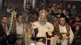 Na Igreja de Mar Girgis no Cairo as cerimônias foram presididas por Teodoro II, Papa da Igreja Ortodoxa Copta de Alexandria.