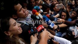 委內瑞拉反對派領導人瓜伊多發表談話。